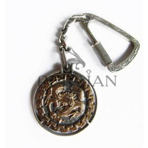 Брелок серебряный «Дракон» с золотой накладкой