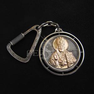 Брелок серебряный с золотой накладкой «Николай Чудотворец»