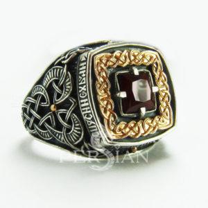Серебряный перстень «Дар Волхвов Спаси и Сохрани» с гранатом