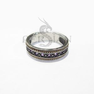 Серебряное кольцо «Дорожка» с аметистами