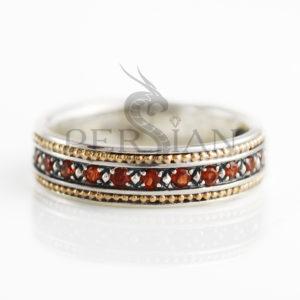 Серебряное кольцо «Дорожка» с гранатами