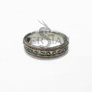 Серебряное кольцо «Дорожка» с хризолитами