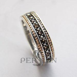 Серебряное кольцо «Дорожка» с раухтопазами