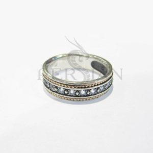Серебряное кольцо «Дорожка» со скай топазами