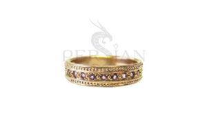 Золотое кольцо «Дорожка» с аметистами