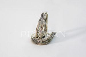 Серьги «Дорожка» серебряные с хризолитами