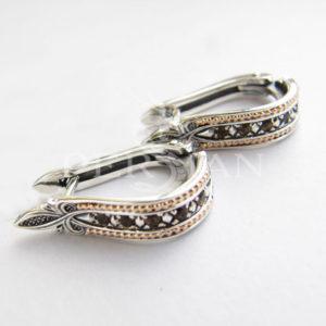 Серьги «Дорожка» серебряные с раухтопазами