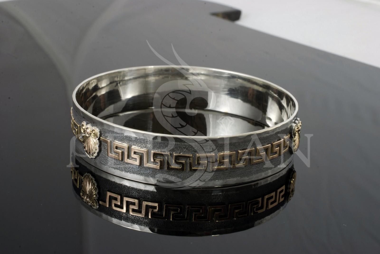 Серебряный браслет «Греческая Волна» с золотой накладкой