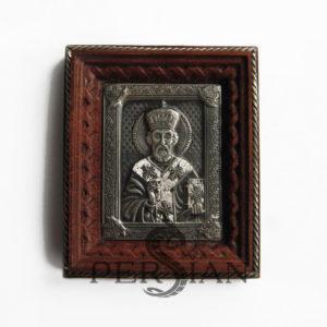 Серебряная автомобильная икона «Николай Чудотворец»
