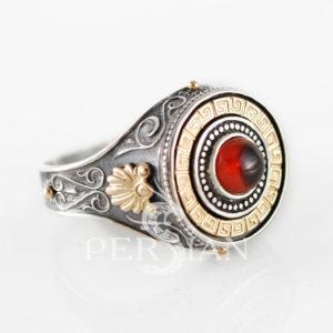 Серебряный перстень «Император Спаси и Сохрани» с гранатом