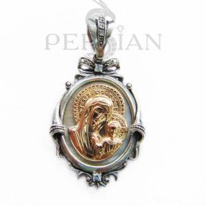 Серебряная подвеска «Казанская Божья Матерь»