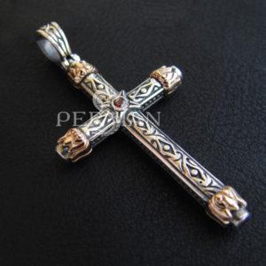 Серебряный крест «Благодатный Огонь» с золотой накладкой и гранатом