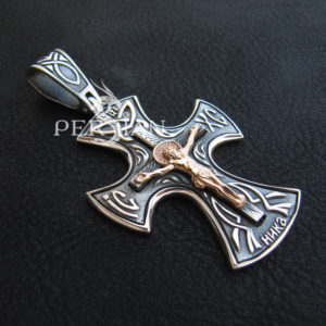 Серебряный крест «Единение» с золотой накладкой