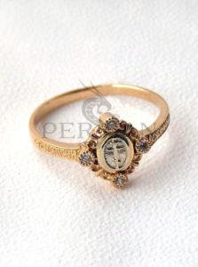 Золотое кольцо «Крест Голгофы» с цирконами