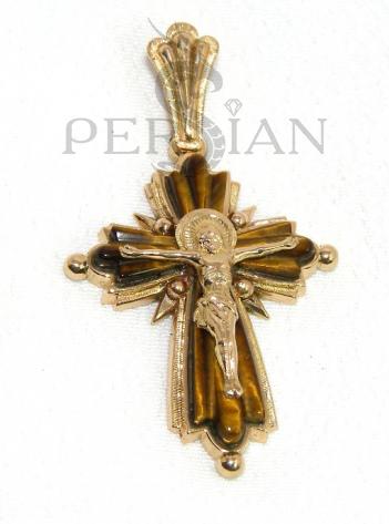 Золотой крест «Женственность» с тигровым глазом