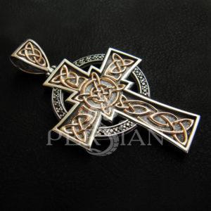 «Крест Колумба» серебряный с чёрными цирконами