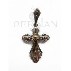 Серебряный крест «Лепестковый» с золотой накладкой
