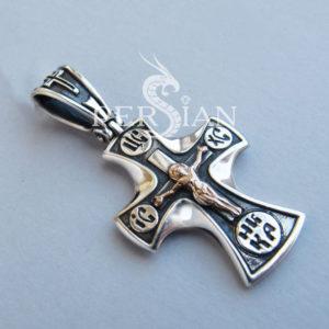 Серебряный крест «Молодость» с золотой накладкой