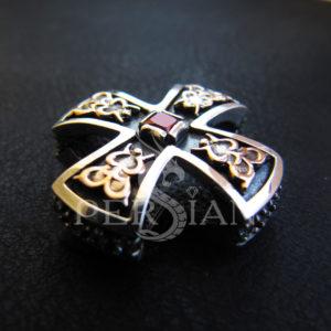 Серебряный крест с золотом и светлым гранатом