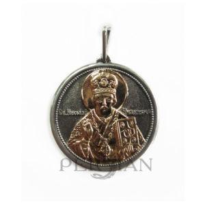 Подвеска «Николай Чудотворец» серебряная с золотой накладкой