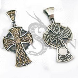 Серебряный «Новгородский Крест» с чёрными цирконами