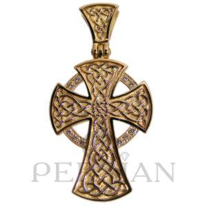 Золотой «Новгородский Крест» с белыми цирконами