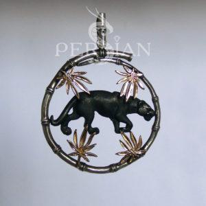 Подвес «Пантера» серебряный с золотыми накладками