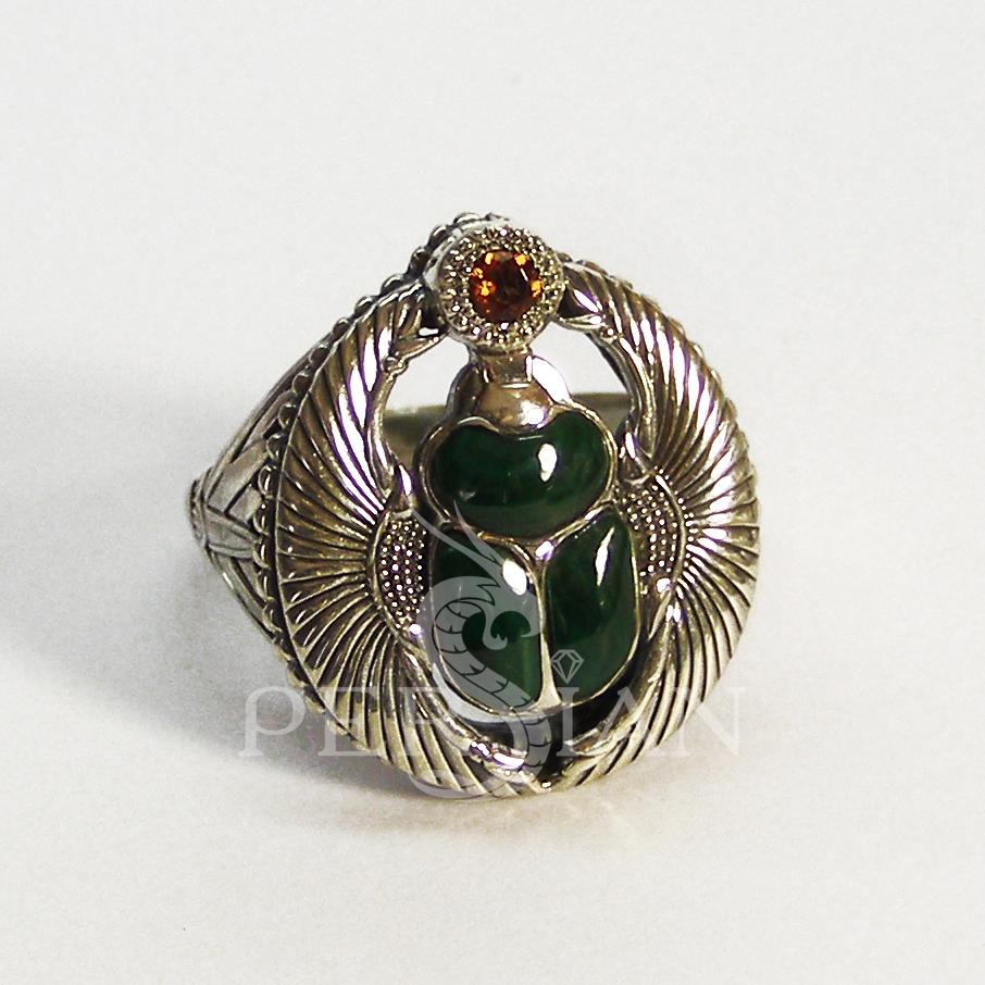 Перстень «Скарабей» с малахитом и цитрином