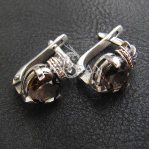 Серебряные серьги «Кладдах» с раухтопазом
