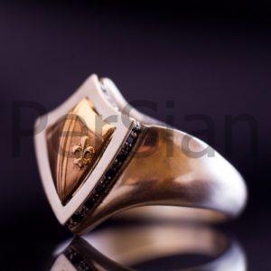 Серебряный перстень «Щит Короля Хлодвига» с чёрными цирконами