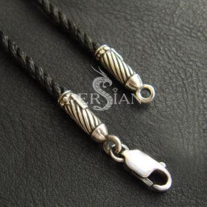 Шёлковый шнурок «Бесконечность» с серебряными наконечниками