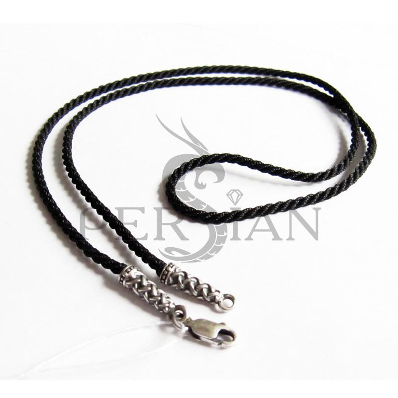 Шёлковый шнурок «Кольчуга» с серебряными наконечниками