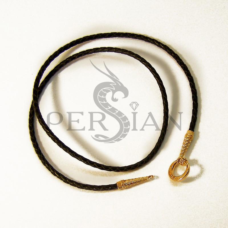 Плетёный кожаный шнурок с золотыми конусными наконечниками