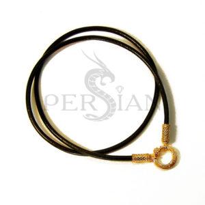 Кожаный шнурок с золотыми овальными наконечниками