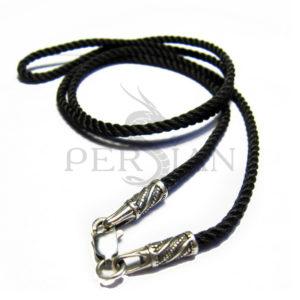 Шёлковый шнурок «Полоса» с серебряными наконечниками