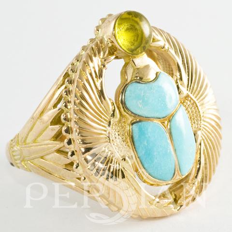 Перстень «Скарабей» с янтарем и натуральной бирюзой