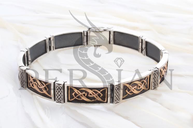 Серебряный браслет «Статус» с золотыми накладками