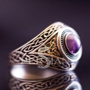 Серебряный мужской перстень «Всевидящее Око» с аметистом