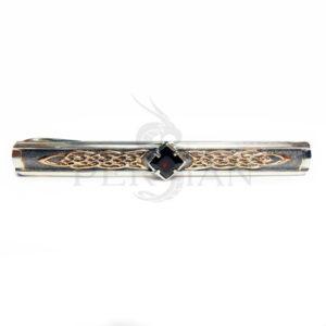 Серебряный зажим для галстука «Дар Волхвов» с гранатом