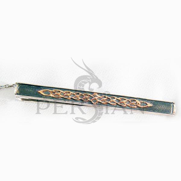 Серебряный зажим для галстука «Ветви Жизни» с золотой накладкой