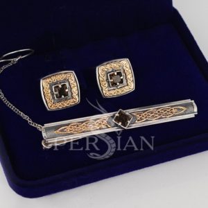 Серебряные запонки «Дар Волхвов» с раухтопазом