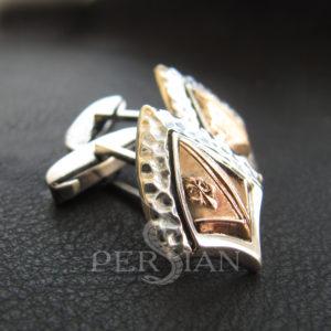 Серебряные запонки «Щит Короля Хлодвига» с золотой накладкой