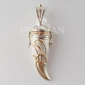 Подвеска «Зуб Дракона» серебряная белая с золотой накладкой