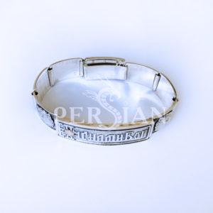 Серебряный браслет «С нами Бог» с золотыми накладками