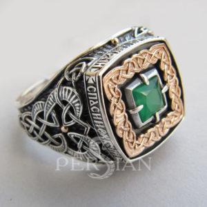Серебряный перстень «Дар Волхвов Спаси и Сохрани» с зелёным агатом