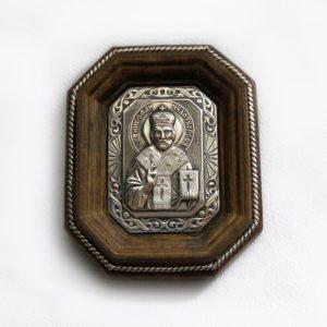 Икона серебряная для автомобиля «Николай Чудотворец»