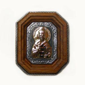 Икона автомобильная «Николай Чудотворец» с золотой накладкой