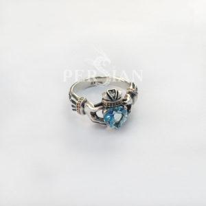 Серебряное кольцо «Кладдах» со скай топазом
