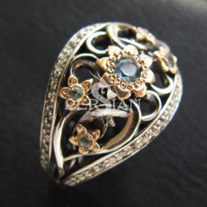 Серебряное кольцо «Весенняя Рапсодия» со скай топазами