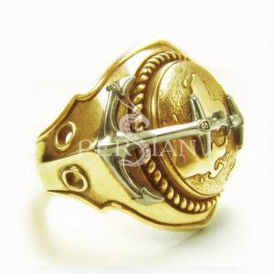 Золотой перстень «Континенты»